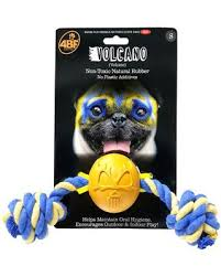 4BF Volcano Rubber Ball With Rope Dog Toy, Small