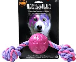 4BF Maravilla (Wonder) Rubber Ball With Rope Dog Toy, Medium