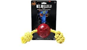 4BF El Diablo (Devil) Rubber Ball With Rope Dog Toy, Large