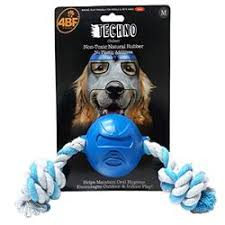 4BF Techno Rubber Ball With Rope Dog Toy, Medium