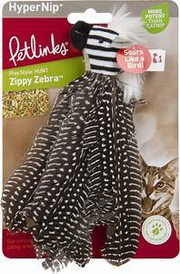 Petlinks HappyNip Safari Zippy Zebra Feathered Cat Toy with Catnip
