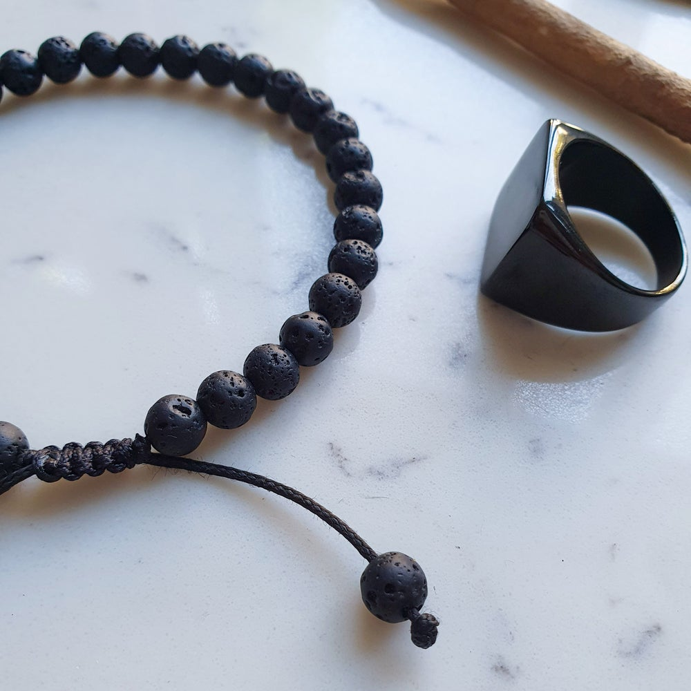 Black Lava Stone Bracelet 33 Bead Tasbih by Safar London
