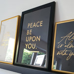 Load image into Gallery viewer, Peace be upon you Gold letter press print by Safar London