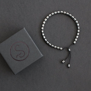 Cylindrical Hematite Gun Metal Grey Bracelet 33 Bead Tasbih by Safar London