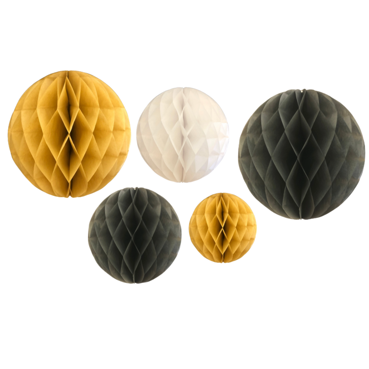 Black, gold & white honeycomb balls hanging decorations