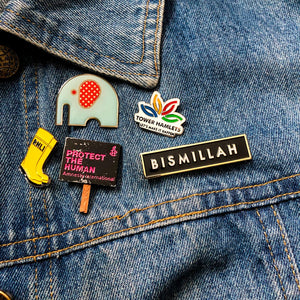 Alhamdulillah, Bismillah and Hub Lapel Pins by Safar London