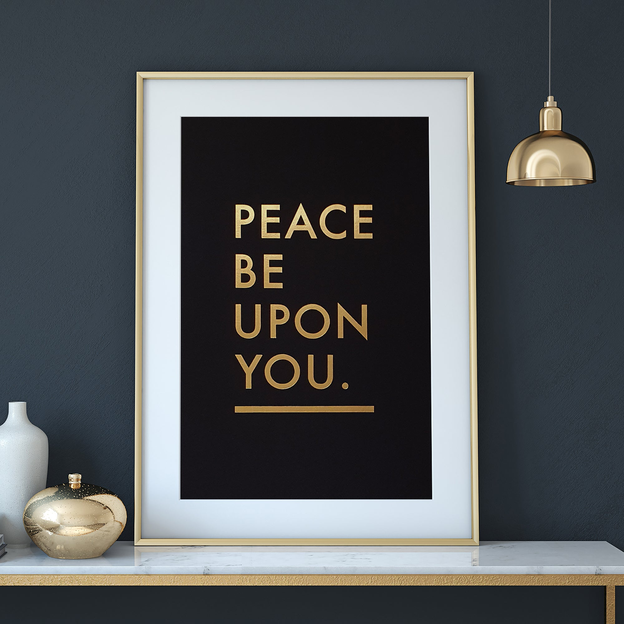 Peace be upon you Gold letter press print by Safar London