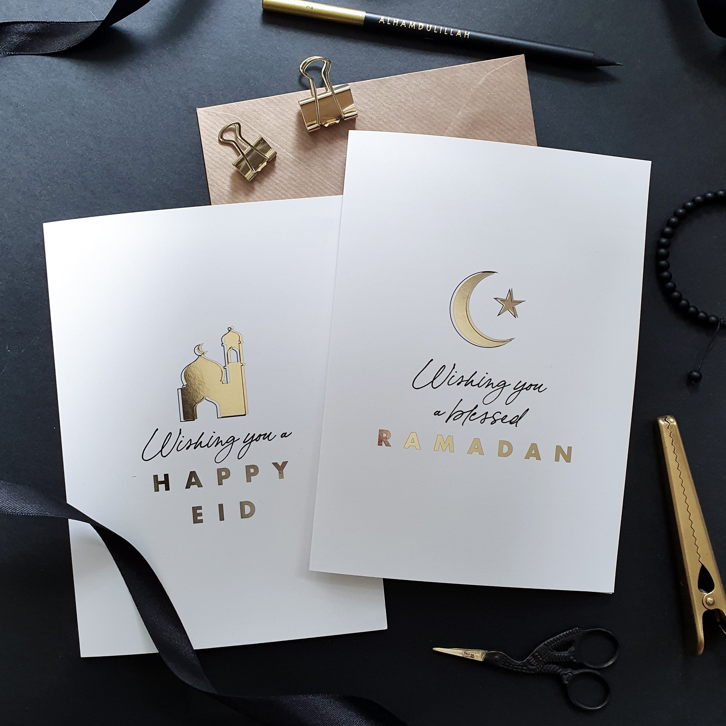 NEW A5 Gold Foiled  Eid and Ramadan Greeting Cards