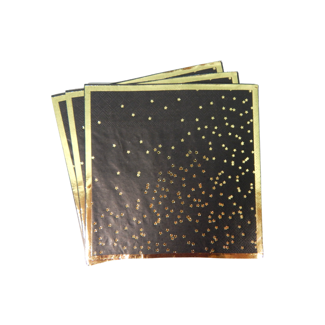 Stardust Black and Gold napkins 20 pack
