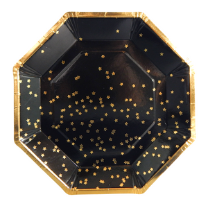Stardust Black and Gold plates 10 pack