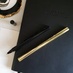 Load image into Gallery viewer, Alhamdulillah Embossed Black A5 Notebook by Safar London