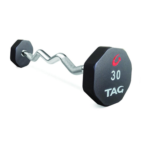 TAG 8 Sided Premium Ultrathane EZ Curl Fixed Barbell Set 20-110 (10 Bars)