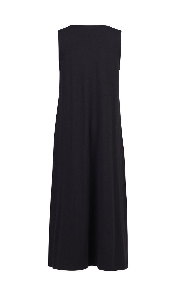 Back full body view of the alembika cotton tank dress. This long dress is black and sleeveless.