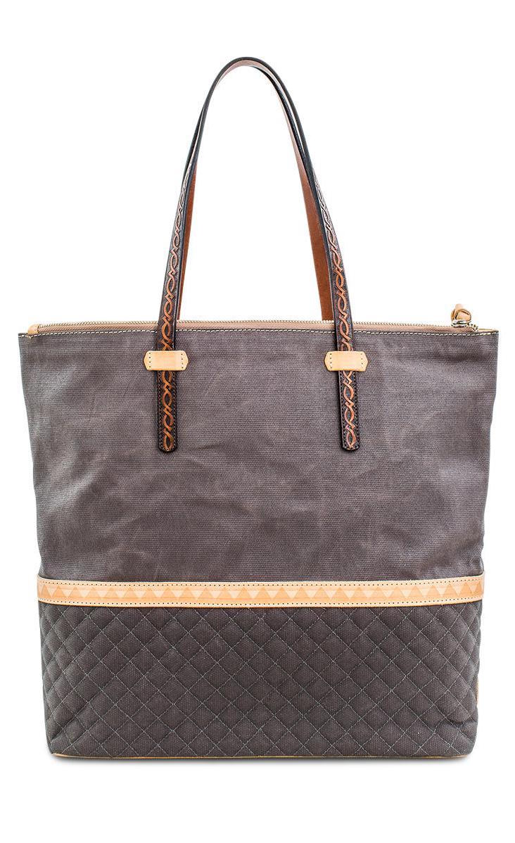 Back view of the consuela silverlake market tote. This tote is grey with a quilted like bottom and light tan trim. The straps are thin.
