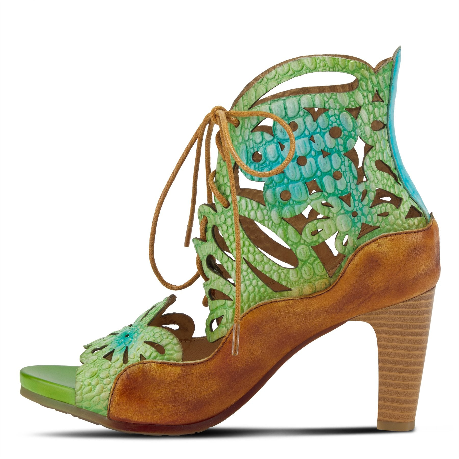 Inner view of the l'artiste osocool sandal. This sandal is an open toe high heel with green and blue floral cutouts through out the upper. The upper goes up to the ankle and has a lace up closure. The sandal also features tan edging.