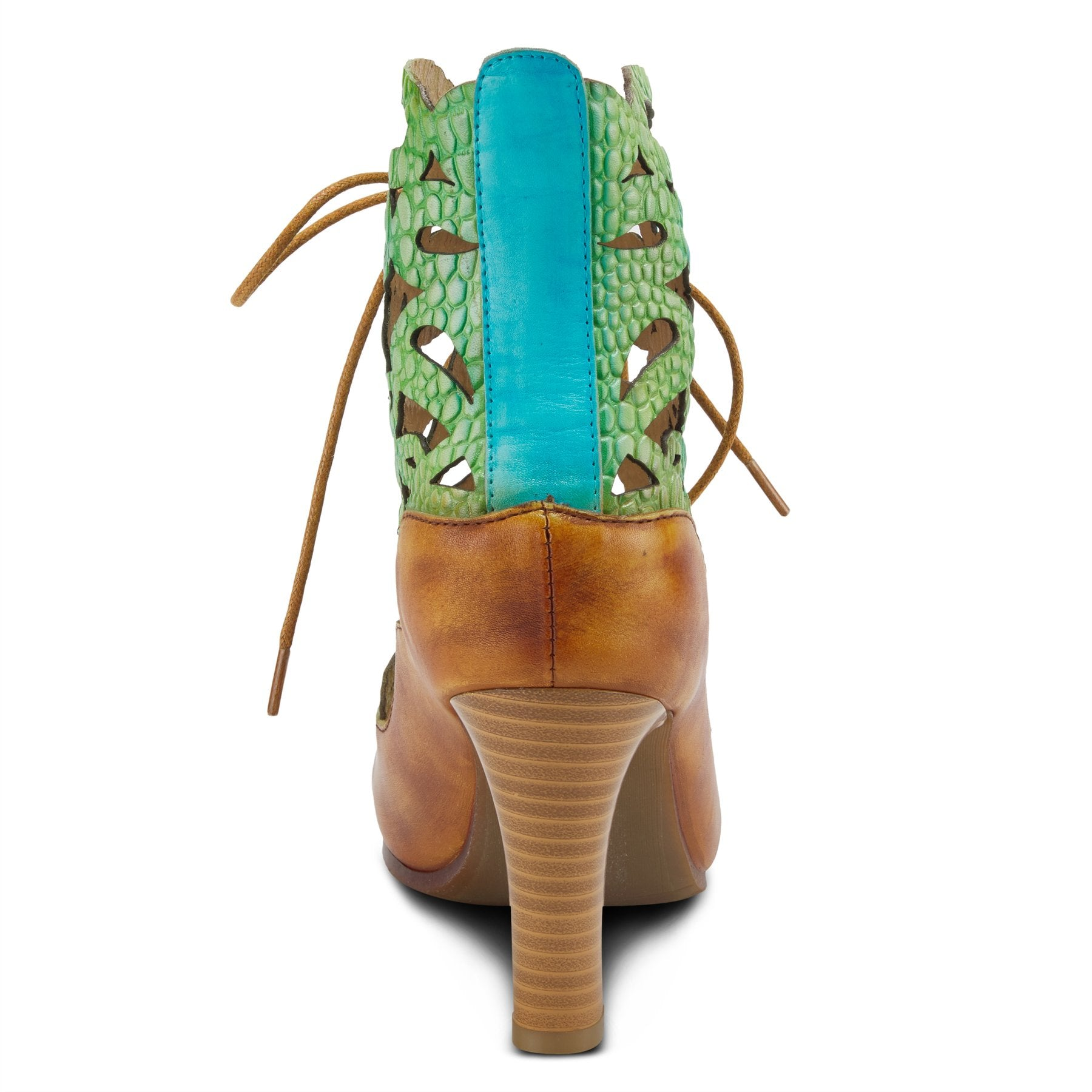 back view of the l'artiste osocool sandal. This sandal is an open toe high heel with green and blue floral cutouts through out the upper. The upper goes up to the ankle and has a lace up closure. The sandal also features tan edging and a blue strip on the closed back.