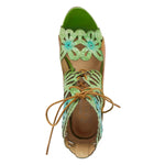 Load image into Gallery viewer, birds-eye view of the l'artiste osocool sandal. This sandal is an open toe high heel with green and blue floral cutouts through out the upper. The upper goes up to the ankle and has a lace up closure. The sandal also features tan edging and a closed back.