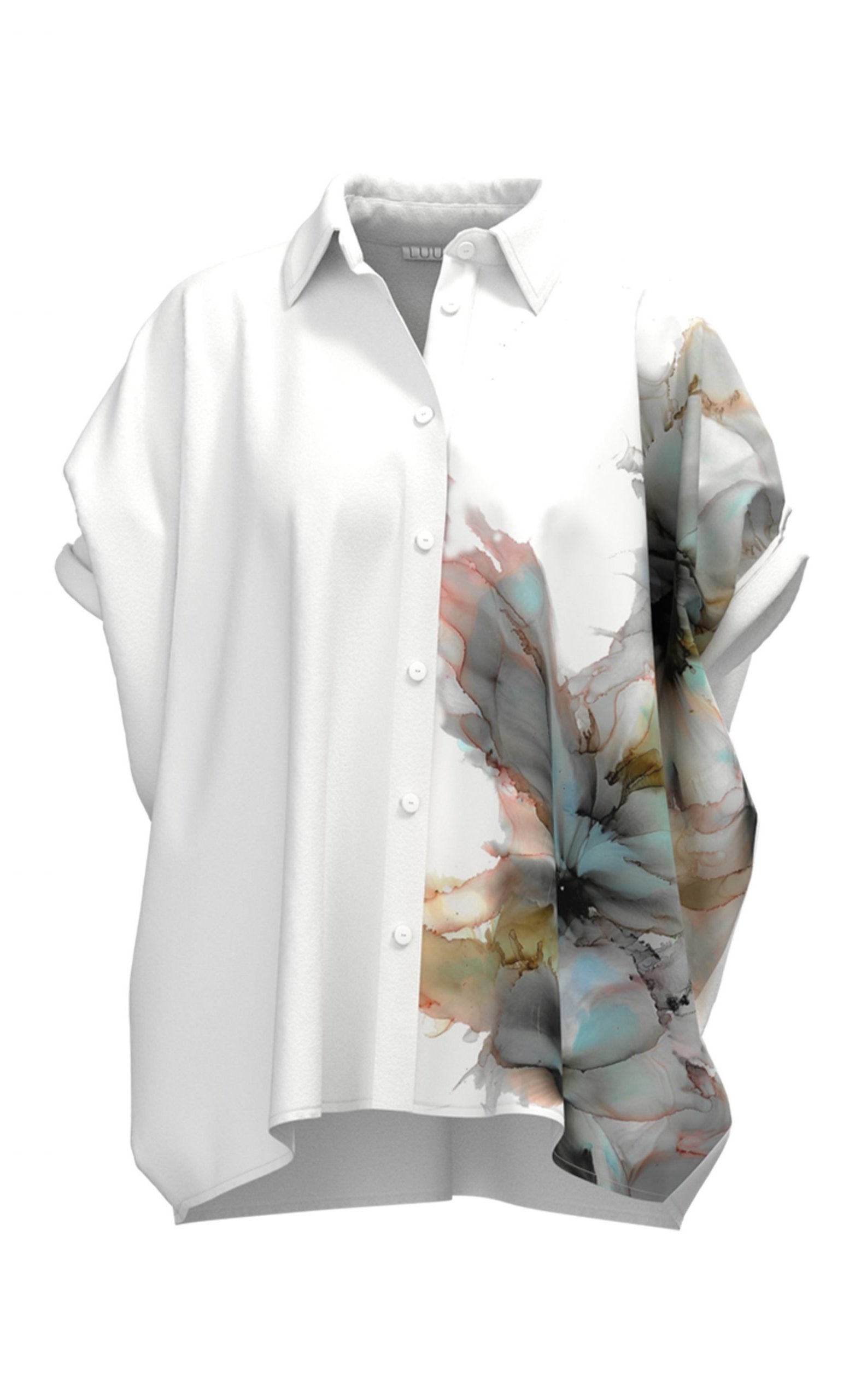 Front view of the Luukaa Watercolor Shirt. This shortsleeve, white shirt has a button down front and shirt collar. The left side of the shirt has a watercolor print on it.