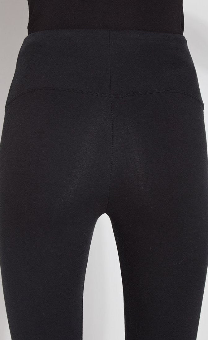 Close up view of the back of the Lysse Flattering Cotton Crop black leggings.