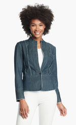 Load image into Gallery viewer, Front, top half view of a woman wearing white pants and the Nic + Zoe Favorite Denim Jacket. The dark denim jacket features frayed stiching, a single front button, and a short stand collar.