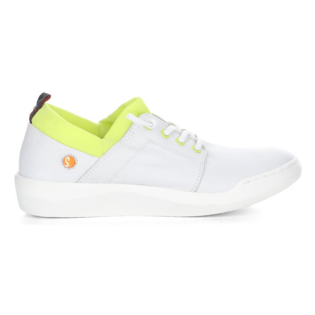 Outer view of the softino byra sneaker. This sneaker is white with a neon green layer of fabric around the opening. The shoes has non-functional white laces.