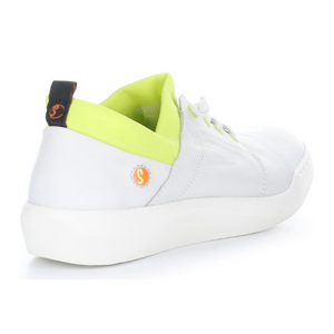 Outer back view of the softino byra sneaker. This sneaker is white with a neon green layer of fabric around the opening. The shoes has non-functional white laces.