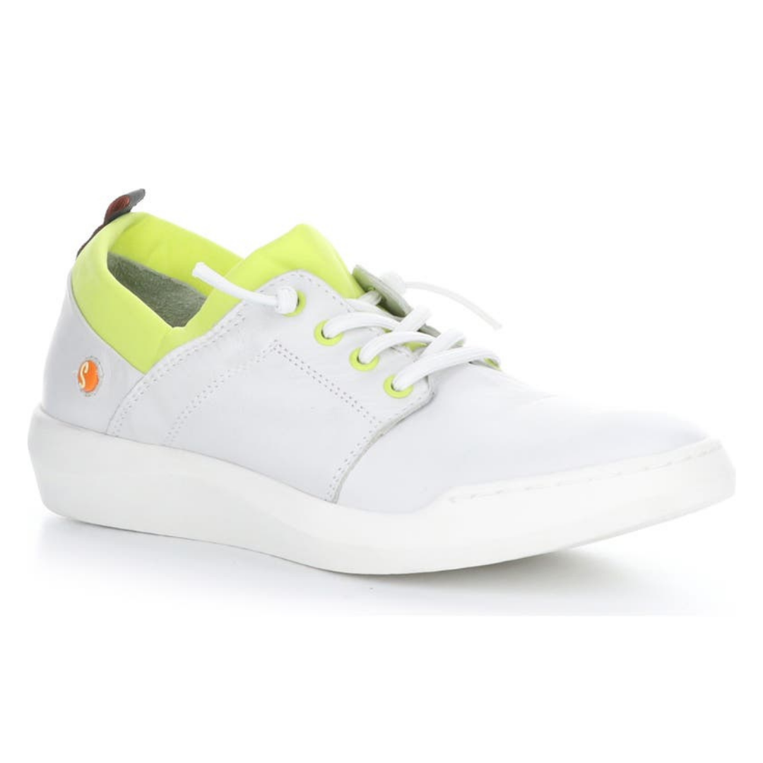 Outer front view of the softino byra sneaker. This sneaker is white with a neon green layer of fabric around the opening. The shoes has non-functional white laces.