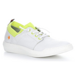 Load image into Gallery viewer, Outer front view of the softino byra sneaker. This sneaker is white with a neon green layer of fabric around the opening. The shoes has non-functional white laces.