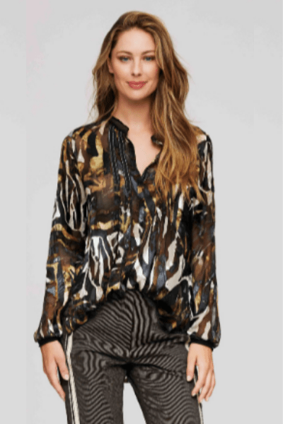 Beate Black Camouflage Top - ModeAlise