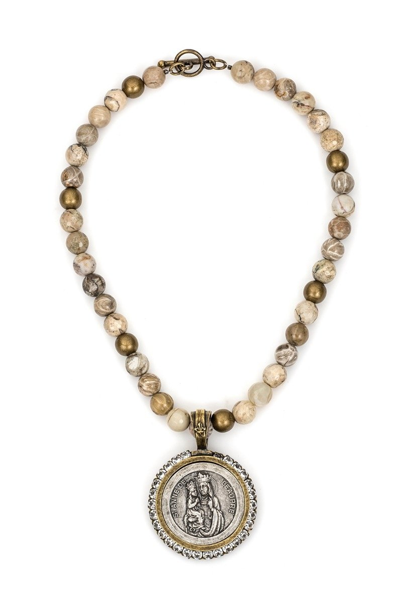 French Kande Saint Anne Medallion Necklace - ModeAlise