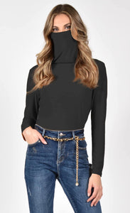 Frank Lyman Cowl Neck/Face Cover Top
