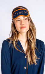 Load image into Gallery viewer, Close up of woman wearing navy pj top and sleep mask that say's Z's the day from PJ Salvage