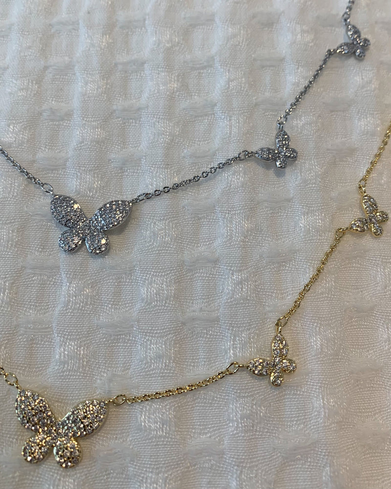 CZ Multi Butterfly Necklace