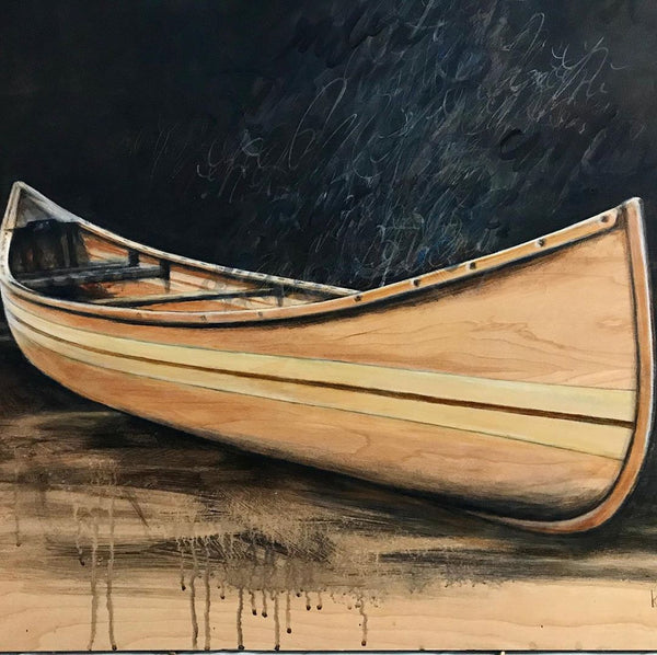 Close up on a painting of a canoe and bird by Karen Tamminga-Patton