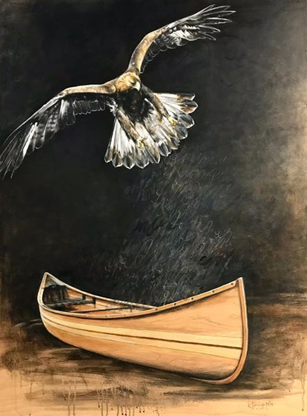 Painting of a canoe and bird by Karen Tamminga-Patton