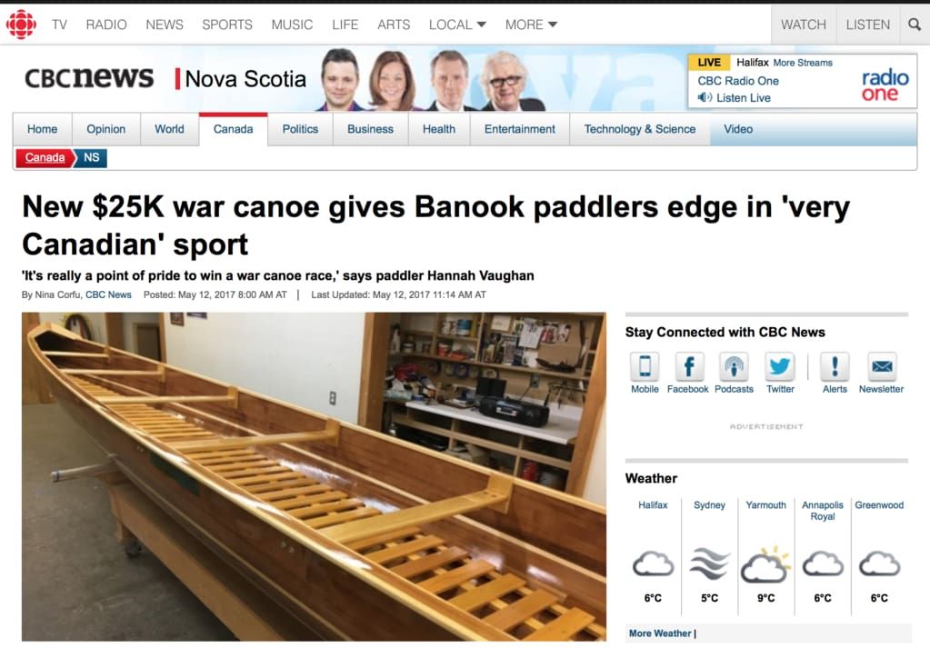 Banook Canoe Club And Bear Mountain Boats Featured On Cbc News