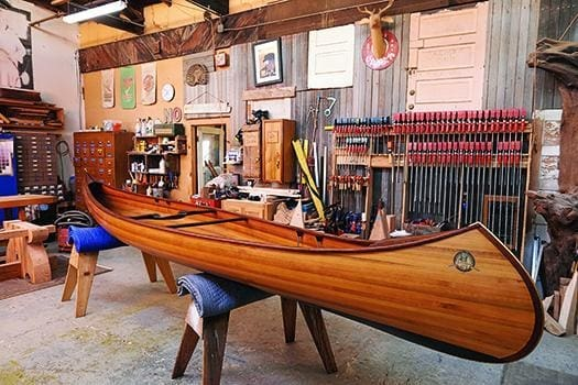 Nick Offerman's wood canoe, a Bear Mountain Boats design