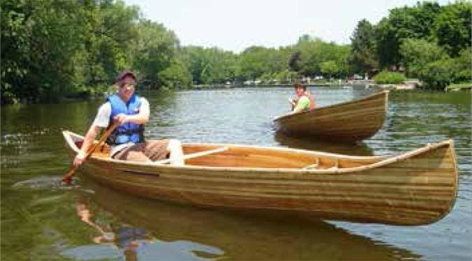 Dan Lowe test drives his canoe