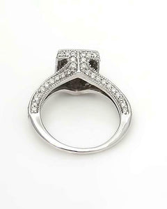 14k WHITE GOLD 3/4ct PRINCESS CUT ROUND DIAMOND CLUSTER HALO ENGAGEMENT RING