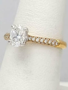 SIMON G. 18k YELLOW GOLD .23ctw DIAMOND PAVE OVAL SEMI MOUNT ENGAGEMENT RING