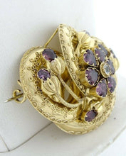 Load image into Gallery viewer, 14K YELLOW GOLD VINTAGE RHODALITE GARNET CZ HEART BROOCH