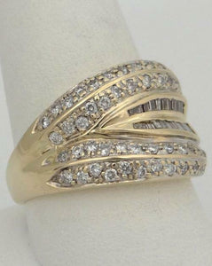 14K YELLOW GOLD 1.00ct ROUND BAGUETTE DIAMOND HIGH POLISH WIDE BAND RING 15mm