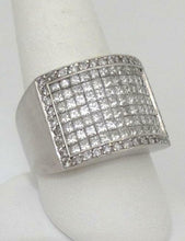Load image into Gallery viewer, 14K WHITE GOLD 4.00ct DIAMOND PAVE WIDE BAND HEAVY THICK RING 16mm