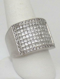 14K WHITE GOLD 4.00ct DIAMOND PAVE WIDE BAND HEAVY THICK RING 16mm