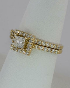 14k YELLOW GOLD 1.21CT TOTAL DIAMOND PRINCESS HALO ENGAGEMENT WEDDING BAND SET