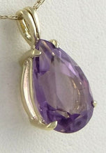 Load image into Gallery viewer, 14K YELLOW GOLD 5.58ct 15x10mm PEAR SYNTHETIC AMETHYST FEBRUARY PENDANT CHARM