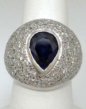 Load image into Gallery viewer, 18K WHITE GOLD 3.00ct PEAR BLUE SAPPHIRE 2.00ct DIAMOND STATEMENT RING