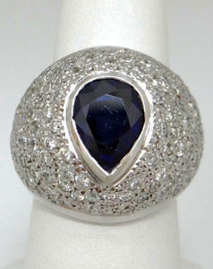 18K WHITE GOLD 3.00ct PEAR BLUE SAPPHIRE 2.00ct DIAMOND STATEMENT RING