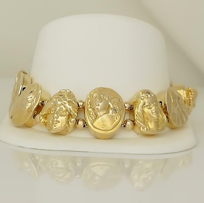 14k YELLOW GOLD 1/10ct DIAMOND GODDESS SLIDE CHARM LINK BRACELET 78.4g 8