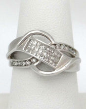 Load image into Gallery viewer, LADIES 14K WHITE GOLD 1/2ct PAVE DIAMOND UNIQUE CUT OUT SWIRL BAND RING 13mm 8